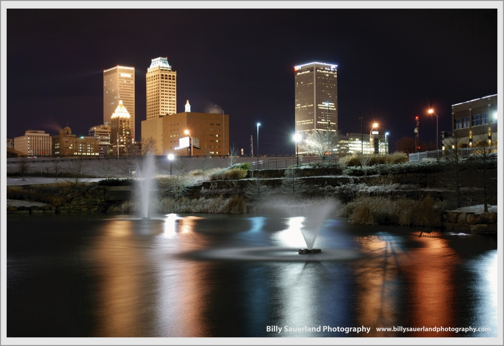 Winter night at Centennial Park and Downtown Tulsa