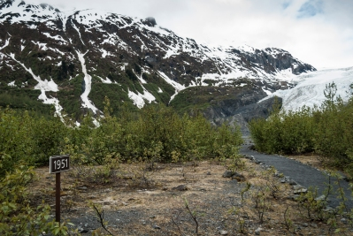 "Hiking out to Exit Glacier, Kenai Fjords National Park, Seward, Alaska. Love me some Alaska travels. The sign ""1951"" denotes where Exit Glacier was that year, you can see how far it has receded since then. #exitglacier #seward #kenai #kenaifjordsnationalpark #climatechange #recedingglaciers #alaska #roadtrip #goanddo #dothework #liveyourpassion"